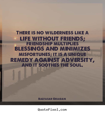 Baltasar Gracian picture quotes - There is no wilderness like a life without.. - Friendship quotes