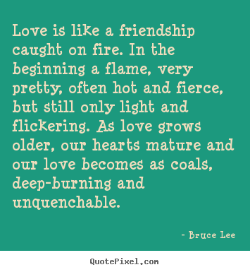 Quote about friendship - Love is like a friendship caught on fire. in the beginning..