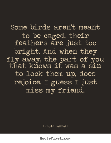 Arnold Bennett pictures sayings - Some birds aren't meant to be caged, their feathers are just.. - Friendship quote