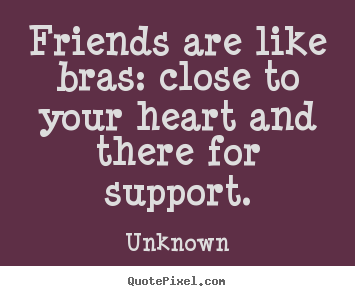 Quote about friendship - Friends are like bras: close to your heart..