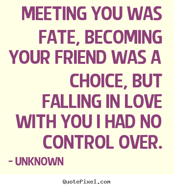 Friendship sayings - Meeting you was fate, becoming your friend..