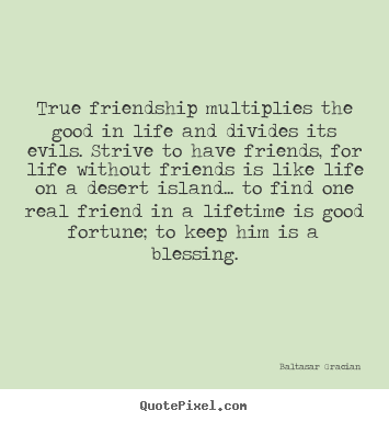 Baltasar Gracian Image Quotes   True Friendship Multiplies The Good In Life  And..