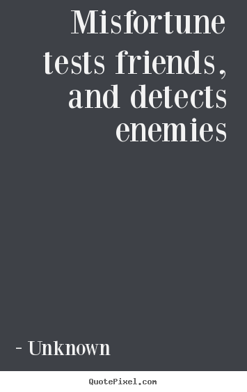 Friendship quotes - Misfortune tests friends, and detects enemies