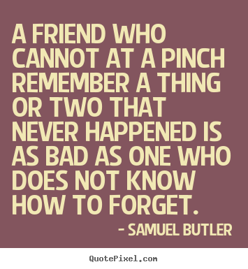 Samuel Butler pictures sayings - A friend who cannot at a pinch remember a thing or.. - Friendship quotes