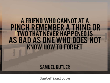 Friendship quotes - A friend who cannot at a pinch remember a thing..