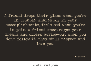 Friendship quote - A friend drops their plans when you're in trouble,..