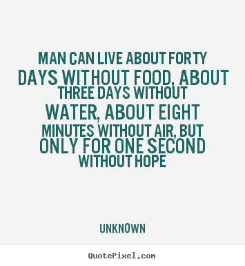 Quotes about inspirational - Man can live about forty days without food, about three..