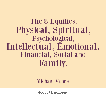 Create graphic picture quotes about inspirational - The 8 equities: physical, spiritual, psychological, intellectual,..