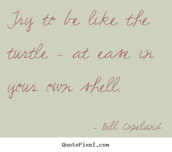 Try to be like the turtle - at ease in your.. Bill Copeland popular inspirational quotes