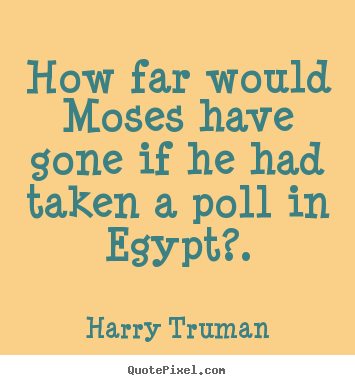 Quote about inspirational - How far would moses have gone if he had taken a poll in egypt?.