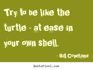 Quote about inspirational - Try to be like the turtle - at ease in your own shell.