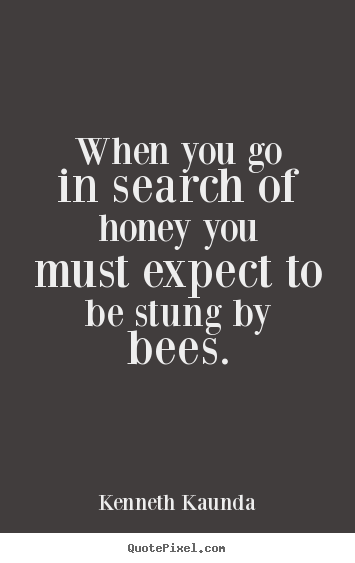 Kenneth Kaunda picture quote - When you go in search of honey you must expect to be stung by bees. - Inspirational quotes