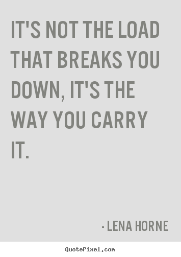 Create picture quotes about inspirational - It's not the load that breaks you down, it's the way..