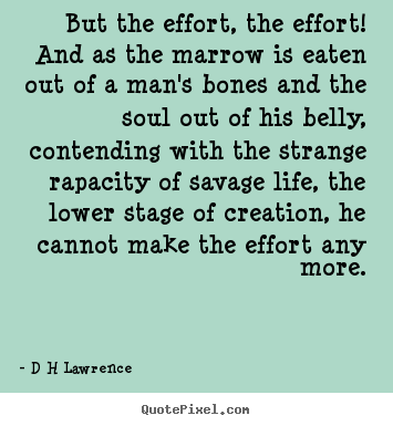But the effort, the effort! and as the marrow.. D H Lawrence  inspirational quotes
