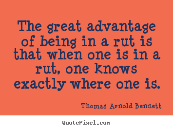 Inspirational quotes - The great advantage of being in a rut is that when one is in a..