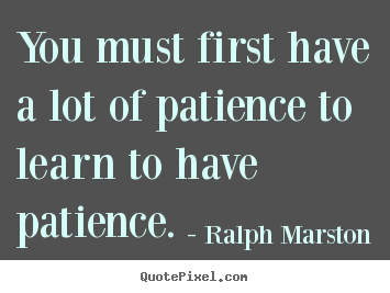 Inspirational quotes - You must first have a lot of patience to learn..