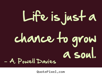 Create graphic picture quotes about life - Life is just a chance to grow a soul.
