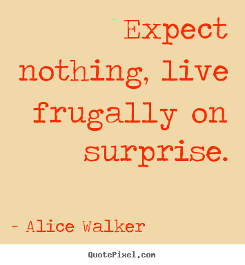 Expect nothing, live frugally on surprise. Alice Walker  life quote