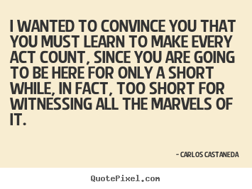 Carlos Castaneda picture quote - I wanted to convince you that you must learn.. - Life quotes