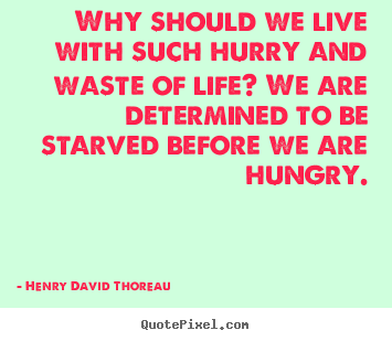 Design your own picture quotes about life - Why should we live with such hurry and waste of life? we are determined..