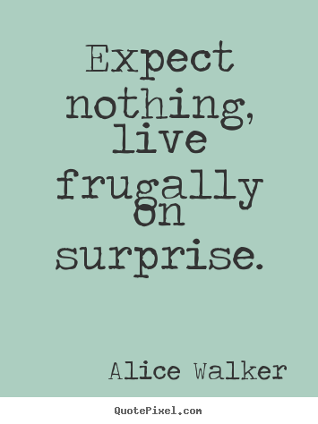 Expect nothing, live frugally on surprise. Alice Walker best life quote