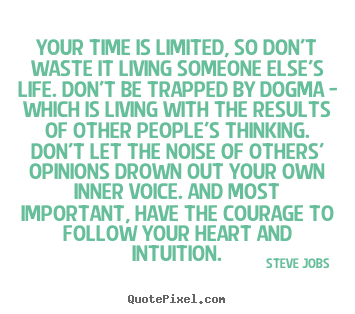 Steve Jobs picture quotes - Your time is limited, so don't waste it living someone else's.. - Life quotes