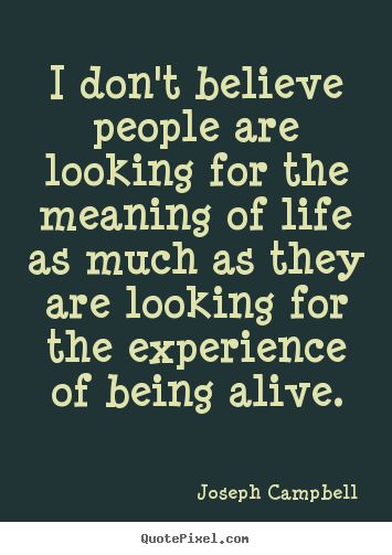 Life quotes - I don't believe people are looking for the meaning of life as much..