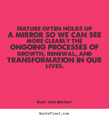 Nature often holds up a mirror so we can see more clearly the ongoing.. Mary Ann Brussat top life quote
