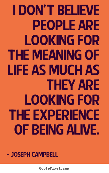 How to make picture quote about life - I don't believe people are looking for the meaning of life..