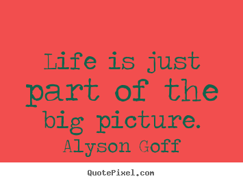 Life is just part of the big picture. Alyson Goff  life quote