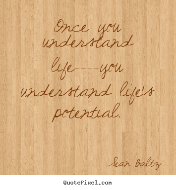 Once you understand life----you understand life's potential. Sean Baltz  life quote