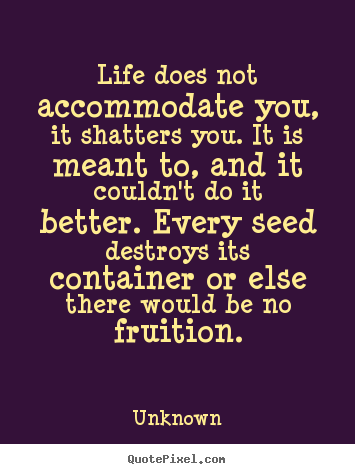 Life quote - Life does not accommodate you, it shatters you...
