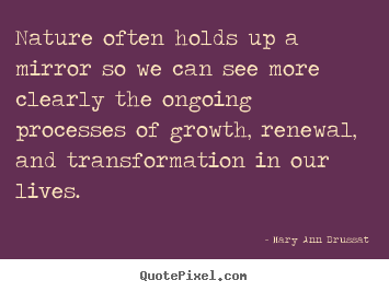 Nature often holds up a mirror so we can see more clearly.. Mary Ann Brussat top life sayings