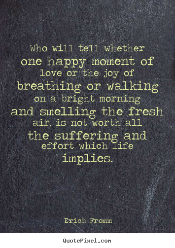 Who will tell whether one happy moment of.. Erich Fromm  life quotes