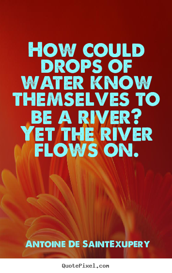 Create photo quote about life - How could drops of water know themselves to..