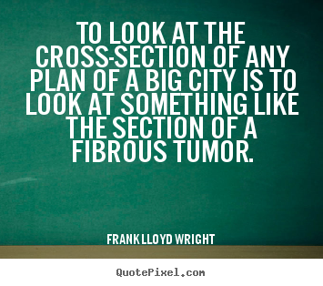 To look at the cross-section of any plan of a big city is to look.. Frank Lloyd Wright greatest life quote