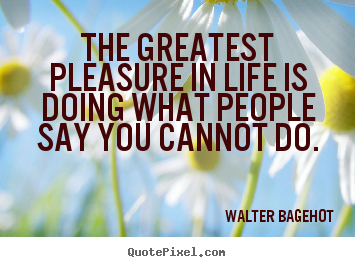 The greatest pleasure in life is doing what people say you cannot.. Walter Bagehot good life quotes
