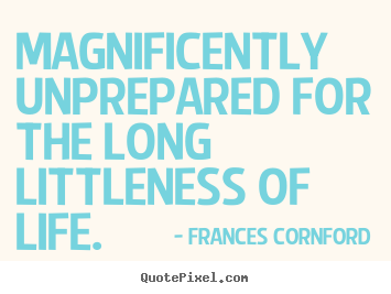 Create graphic poster quote about life - Magnificently unprepared for the long littleness of life.