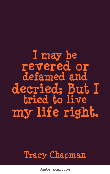 Quotes about life - I may be revered or defamed and decried; but i tried..