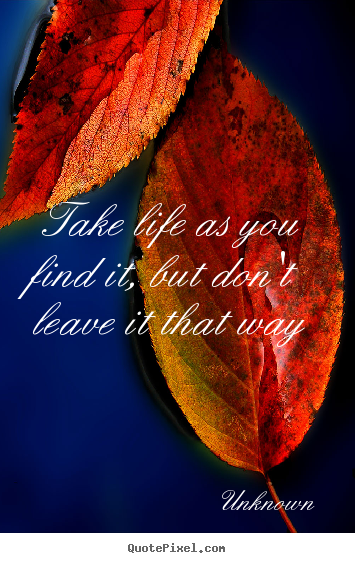 Life quotes - Take life as you find it, but don't leave it that way