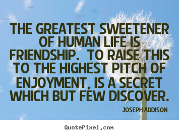 Life quote - The greatest sweetener of human life is friendship...