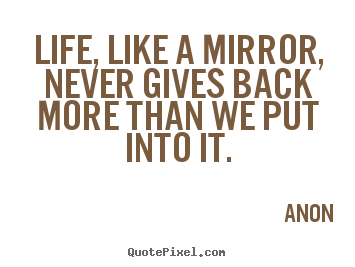 Life quote - Life, like a mirror, never gives back more than we put into it.