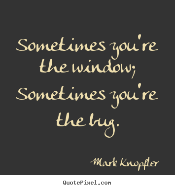 Sometimes you're the window; sometimes you're the bug. Mark Knopfler  life quote