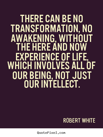 Life quotes - There can be no transformation, no awakening, without the here and now..