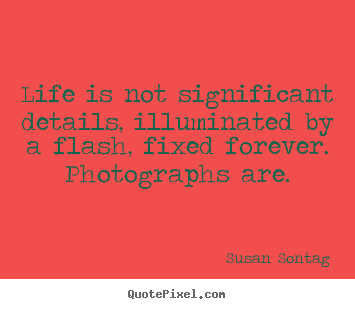 Susan Sontag picture quotes - Life is not significant details, illuminated by a flash, fixed.. - Life quotes