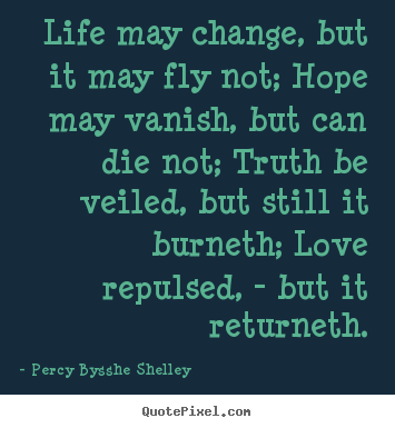 Quote about life - Life may change, but it may fly not; hope may vanish, but can die..