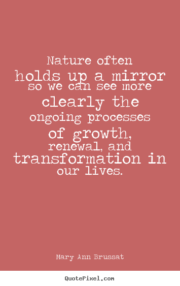 Nature often holds up a mirror so we can see more clearly the.. Mary Ann Brussat great life quote