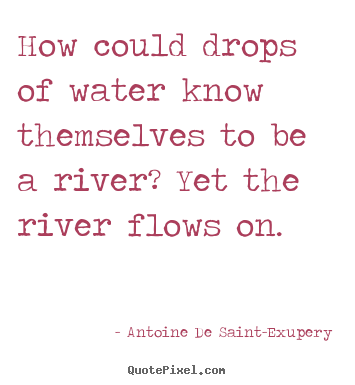 Antoine De Saint-Exupery picture quotes - How could drops of water know themselves to.. - Life quotes