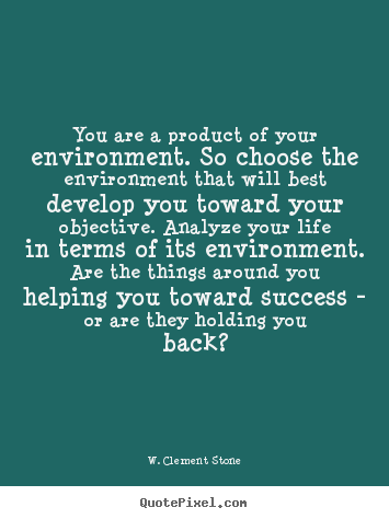 Quote about life - You are a product of your environment. so choose the environment that..