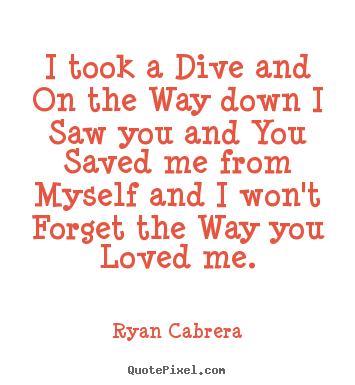 Ryan Cabrera poster quotes - I took a dive and on the way down i saw you and you.. - Love quotes